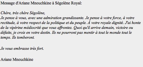 message d'ariane mnouchkine à ségolène royal
